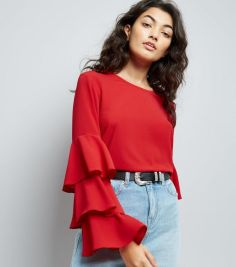 red-triple-tiered-flute-sleeve-top