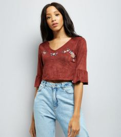 rust-floral-embroidered-suedette-bell-sleeve-crop-top